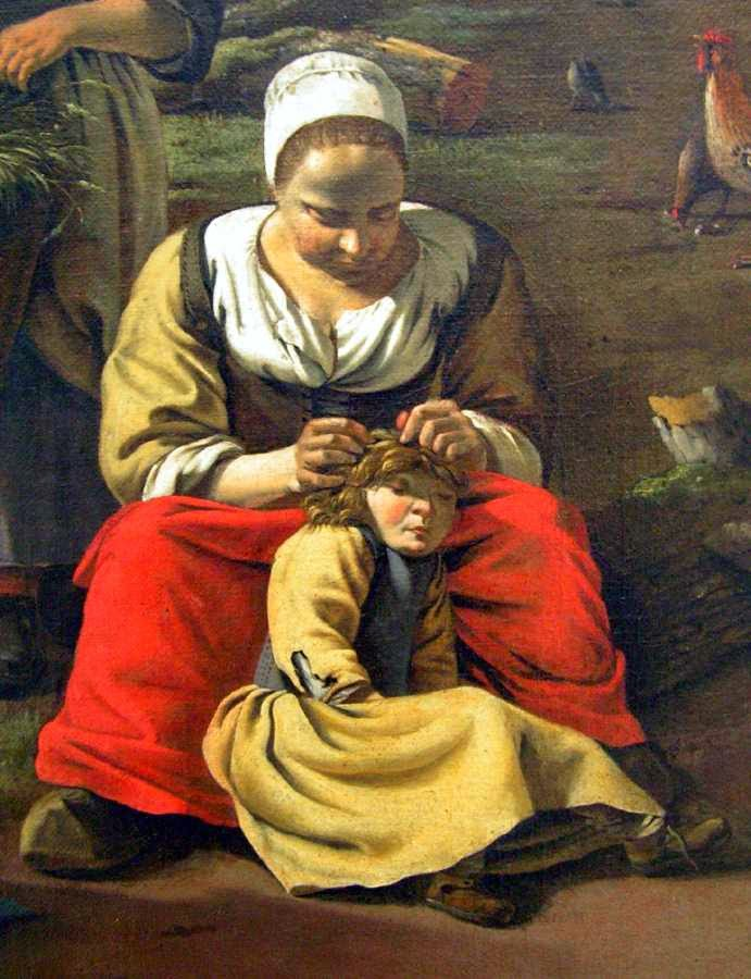 Mother hunting for headlice, a painting by Jan Siberechts