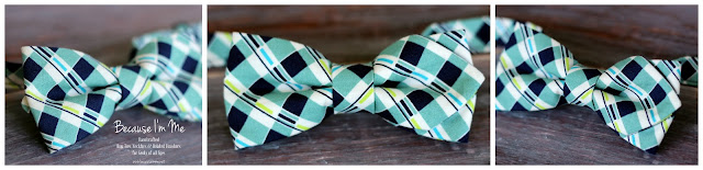 Modern, stylish diamond point navy blue and white plaid cotton bow tie for men and boys