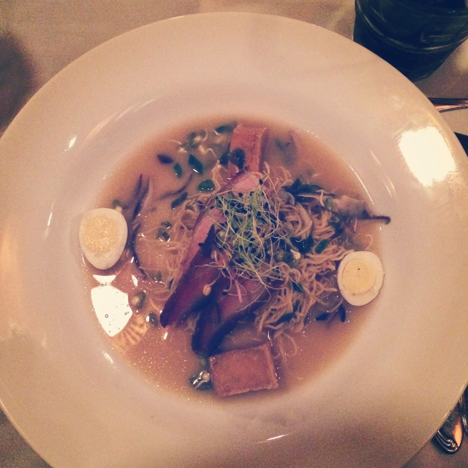 Louisiana Porkbelly Ramen, Local Quail Eggs, House Made Noodles, Shiitake Miso