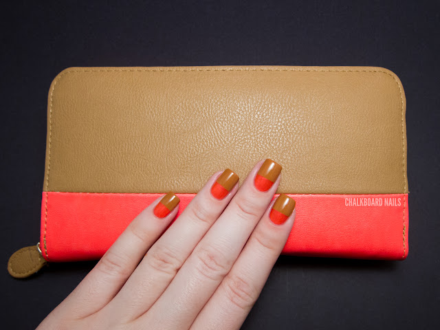 Chalkboard Nails: Neon wallet color blocking
