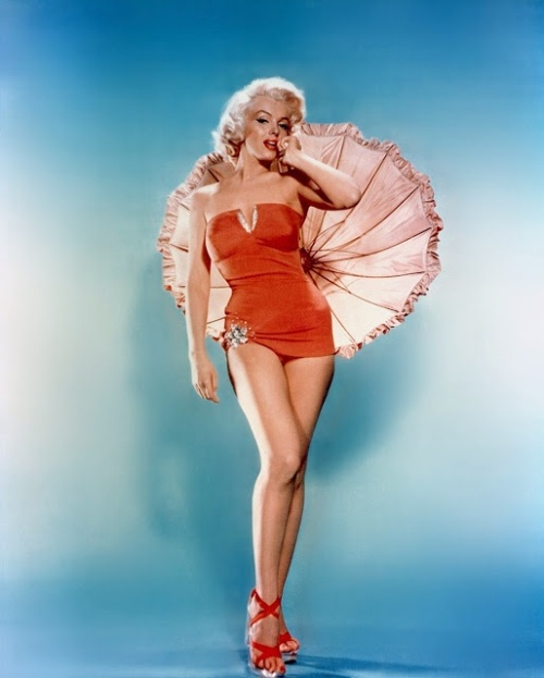 Marilyn Monroe in a red swimsuit for How to Marry a Millionaire