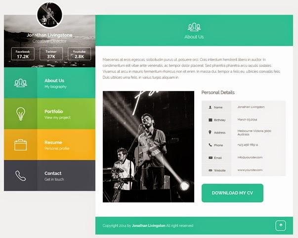 Premium Flat Portfolio Resume Template