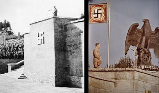 Rikspartidagen, på tysk Reichsparteitag eller egentlig Reichsparteitag der NSDAP, var det årlige partistevnet som det tyske nasjonalsosialistiske arbeiderpartiet NSDAP gjennomførte i årene fra 1923 til 1938. Fra 1933, da partiet overtok makten i Tyskland og «føreren» Adolf Hitler ble rikskansler, deltok hundretusener av mennesker på disse partikongressene, veldige arrangementer som ble holdt i Nürnberg og fikk form av massemønstringer av medlemmer og ledere og teatralske opptog av uniformerte folkemasser.  Ordet dag, på tysk Tag, i rikspartidag betyr «forhandlingsmøte» eller «(lovgivende) forsamling, på samme måte som for eksempel i riksdag.  Innhold      1 Historikk     2 Historiske hendelser     3 Arrangementets innhold     4 Oppslutning     5 Oversikt over arrangementer     6 Arrangementområdet     7 Eksterne lenker  Historikk Det tyske nasjonalsosialistiske partiets tredje rikspartidag ble avholdt i 1927, og for første gang i Nürnberg. På bildet sees blant andre partiføreren Adolf Hitler og Rudolf Hess, Heinrich Himmler, Franz Pfeffer von Salomon og Gregor Strasser. Foto: Deutsche Bundesarchiv Partilederen Adolf Hitler hilser paraderende SA-menn under «Rikspartidag for frihet» 1935. Bak i bilen er «Blodfanen», partiets seremonielle hakekorsflagg.  Den første Rikspartidagen ble gjennomført i München i januar 1923. På grunn av de mislykkede ølkjellerkuppet 8. november 1923 med påfølgende taleforbud ble det neste Rikspartidagsmøtet først gjennomført i 1926 og da i Weimar. I 1927 og 1929 ble møtene lagt til Nürnberg etter initiativ fra den sympatisk innstilte lokale politisjefen Heinrich Gareis. Nürnberg var også hovedstaden i Franken, området til gauleiter og anti-semitt Julius Streicher.  I 1930 og 1931 ble møtene forhindret av den sosialliberale regjeringen i datidens Weimarrepublikk og i 1932 manglet partiet midler til å gjennomføre arrangementet.  Rikspartidagsbyen 30. august 1933 bestemte Hitler at Nürnberg skulle være et fast møtested for Rikspartimøtene med 