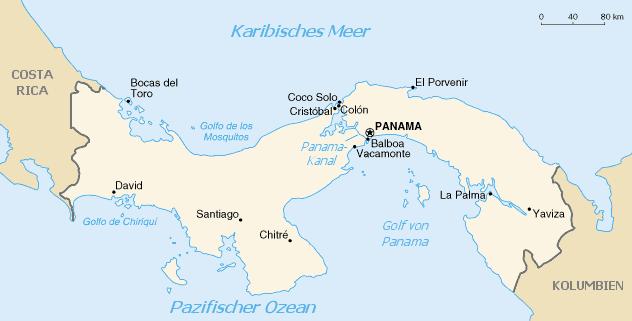 Mapa del Canal de Panamá