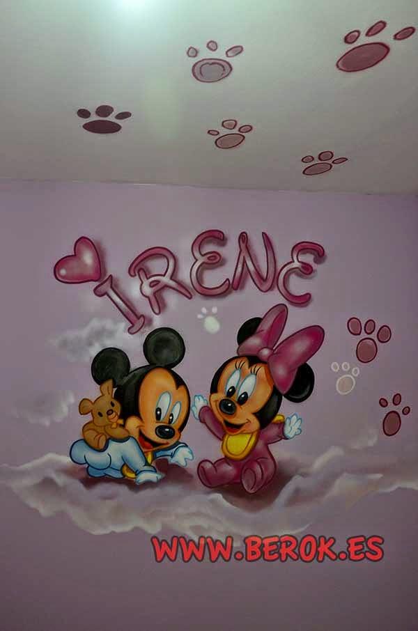 Mural infantil Mickey y Minnie bebés