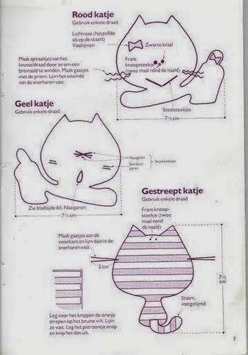 Moldes gatinhos divertidos de tecido