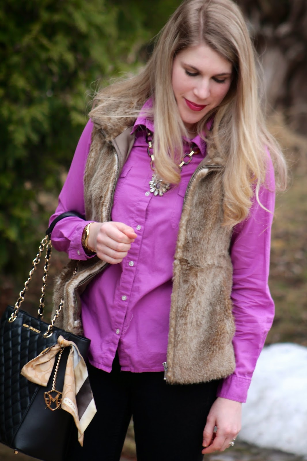 black jeans, purple button up, fur vest, quilted bag, tory burch flats