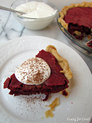 red velvet brownie pie slice on plate