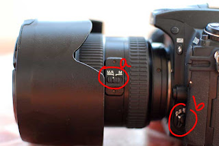 ตำแหน่งปุ่มตั้งค่า autofocus manaul focus ที่เลนส์ และ ที่ตัวกล้อง