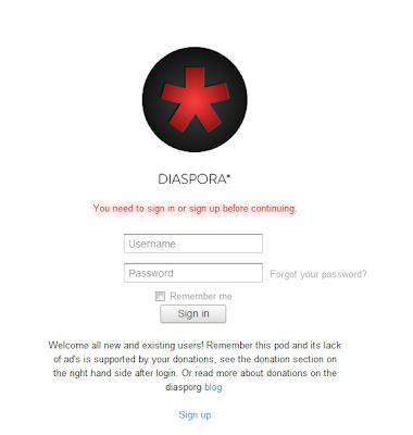 Diaspora log-in page
