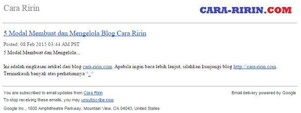 tampilan feed artikel blog custom