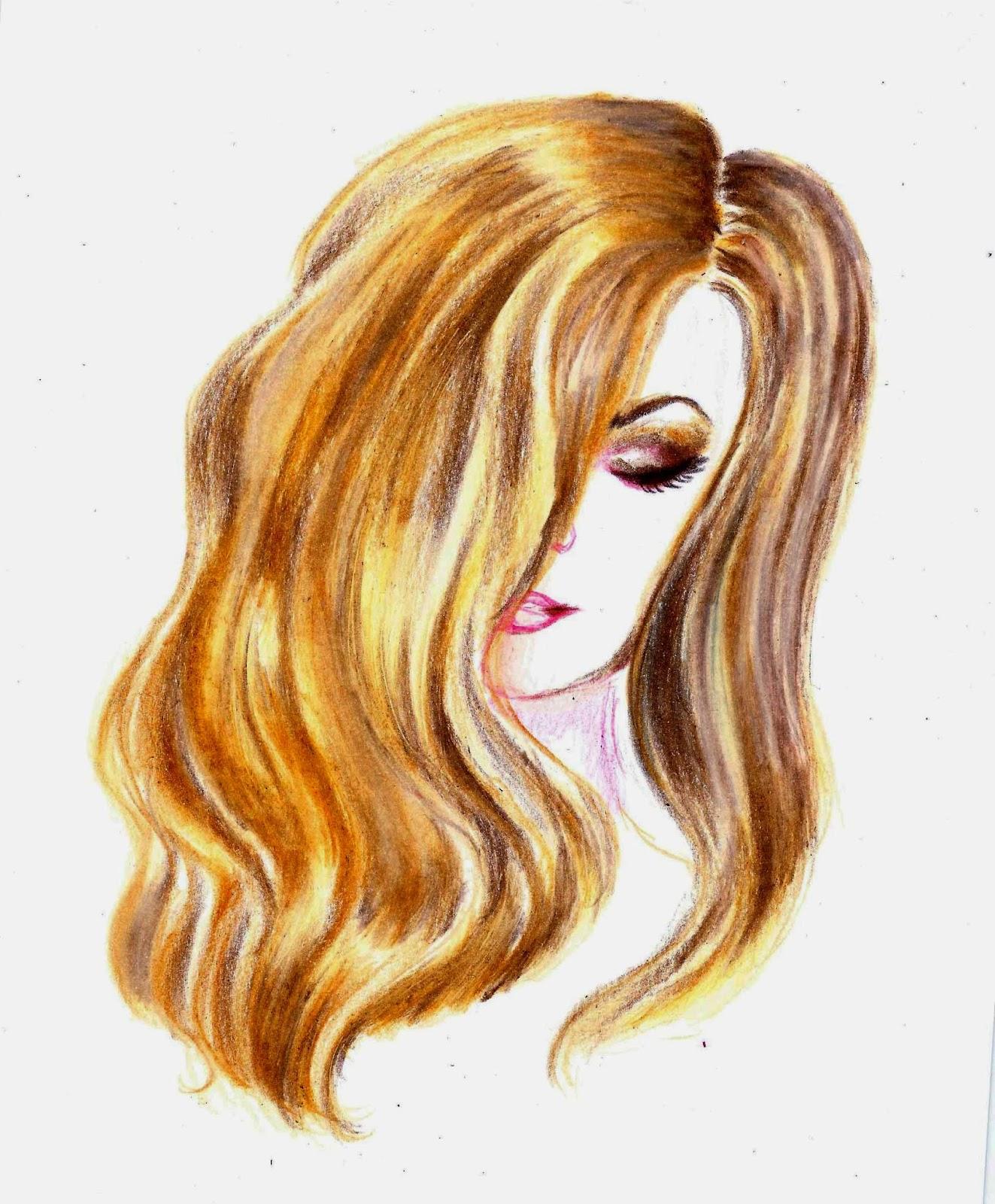 Как цветными карандашами нарисовать волосы