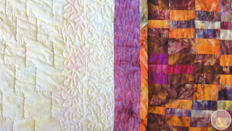 Colcha de patchwork con la técnica bargello. Detalle del acolchado