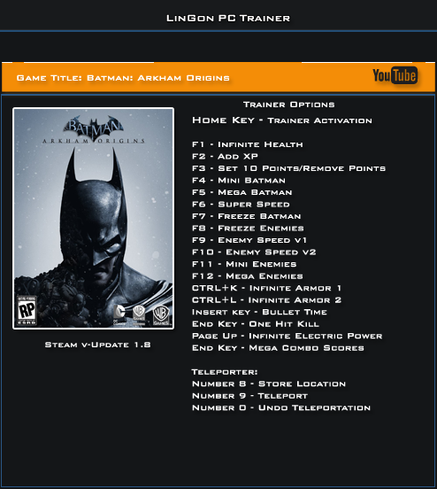 Batman Arkham Origins v1.8 Trainer +20 [LinGon]