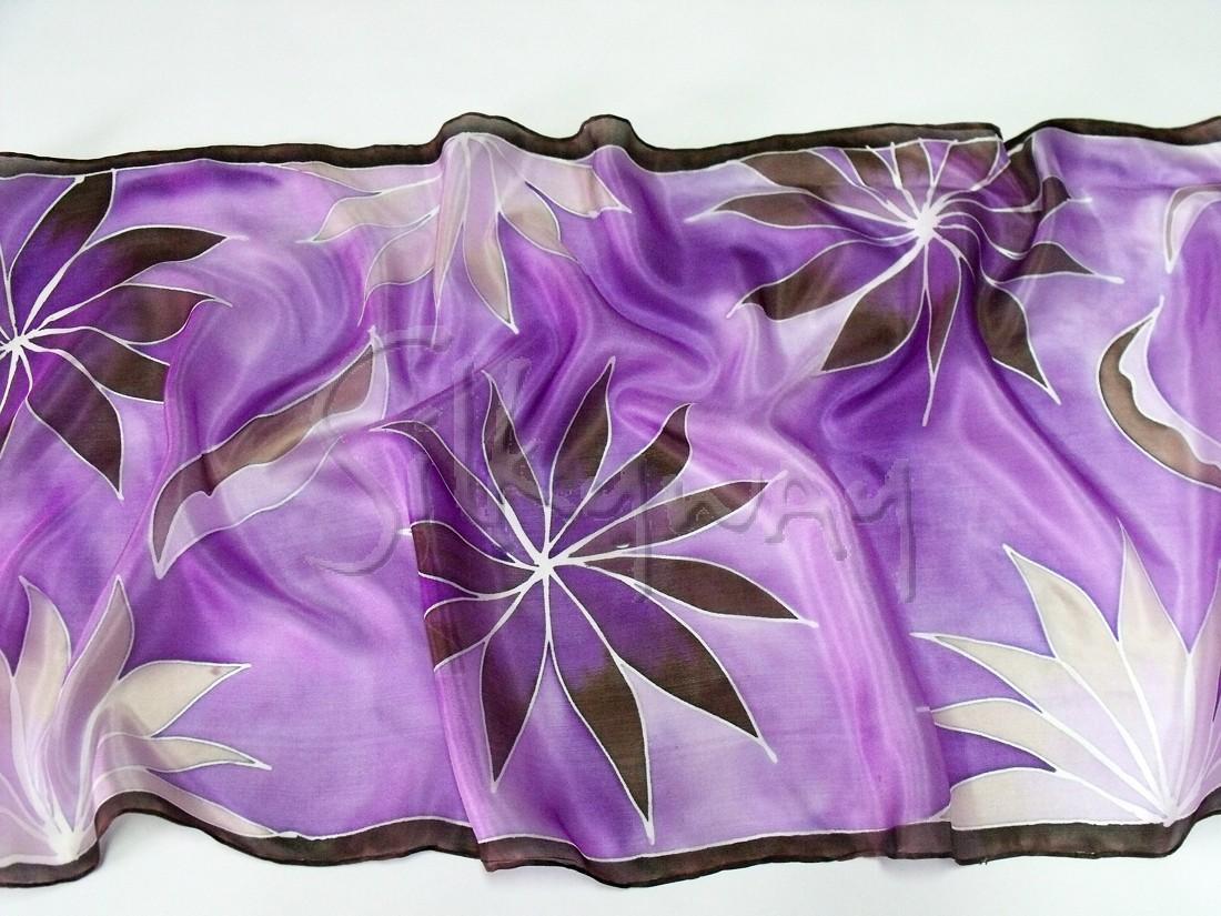 Karácsonyi ajándék nőknek - kézzel festett selyem sálak, kendők, trópusi virágokkal.