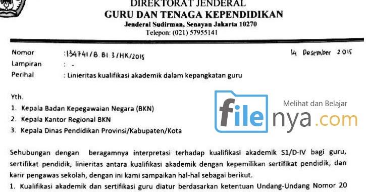 Surat Dirjen Gtk Guru Tidak Linier Bisa Mengajukan Kenaikan Pangkat Filenya