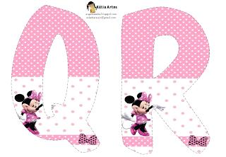 Lindo alfabeto de Minnie saludando, en rosa y blanco QR.