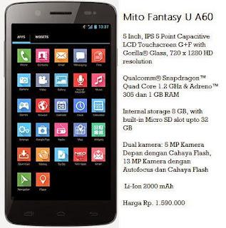 Review, Spesifikasi dan Harga Mito Fantasy U A60 HP Android MurahTerbaru
