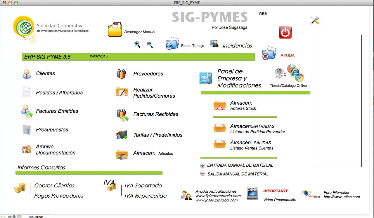 Erp Sig Pyme para mac, desarrollado en filemaker