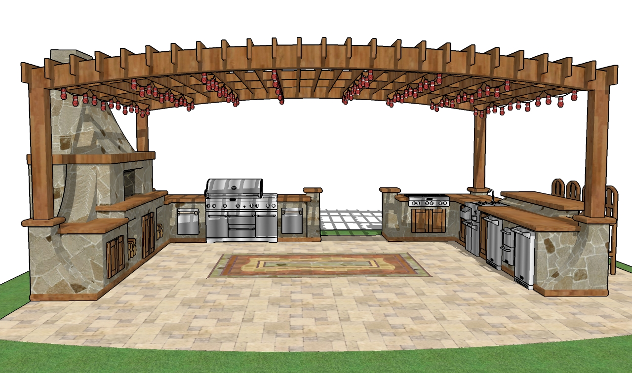 Free gazebo plans how to build a gazebo free pavilion plans for Plans for outside kitchen
