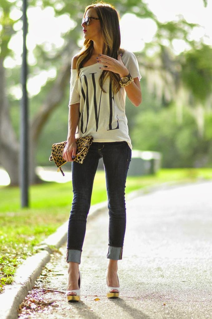White shirt, skinnies and cheetah print handbag with high heels