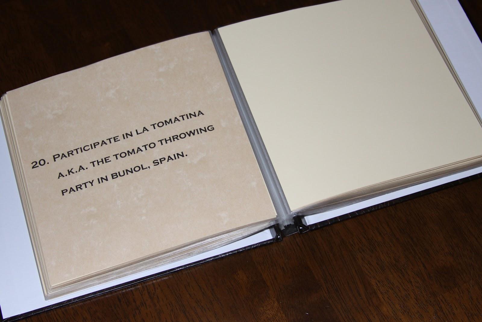 How to make scrapbook creative - 40th Birthday Bucket List Scrapbook