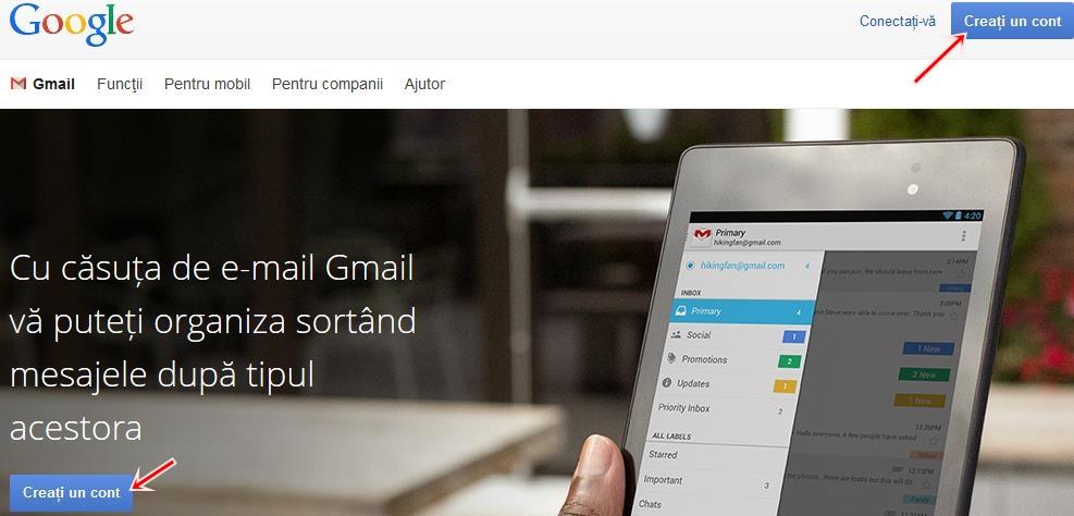 creazati un cont google, o adresa gmail