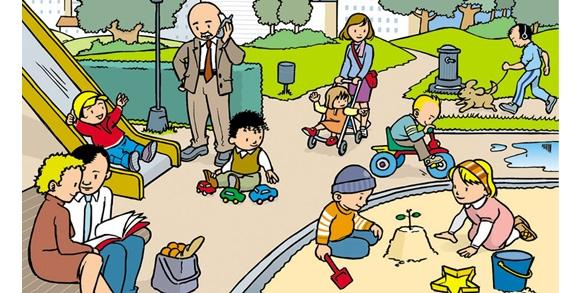 dibujo gente jugando: