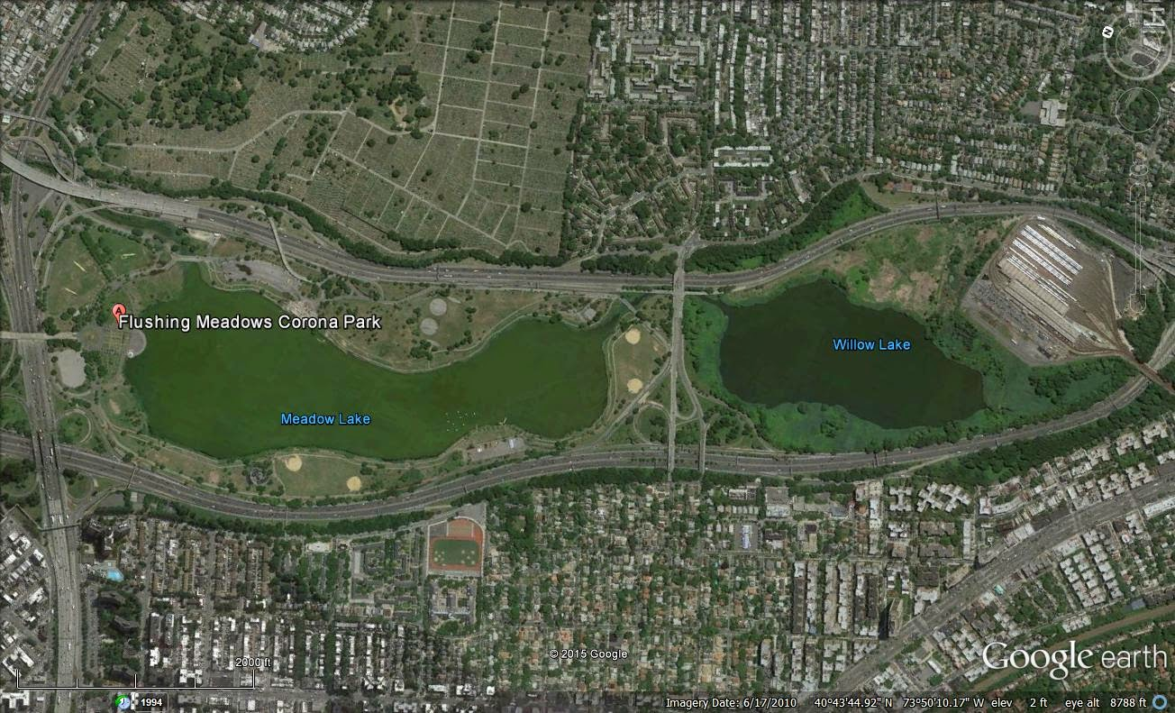 google earth image of meadow lake and willow lake