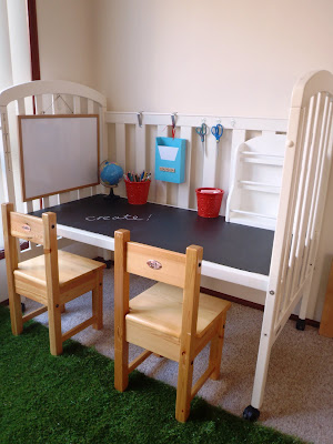 repurpose a crib into a desk