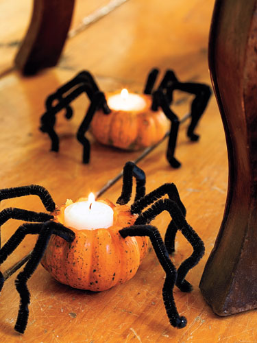 Pumpkin Spider Candles by Good Housekeeping