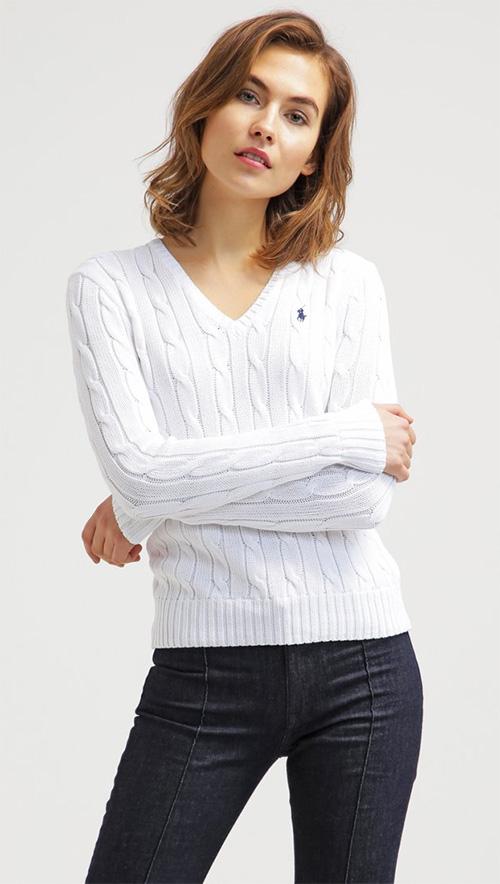 Pull femme col en V blanc Polo Ralph Lauren