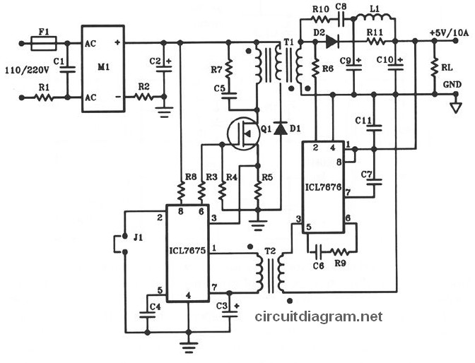 schematic wiring diagram 5v dc 10a power supply offline switching 5v dc 10a power supply offline switching