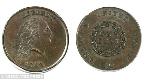 Duit syiling Amerika 1 cent tahun 1793 dijual $1.38 juta dolar
