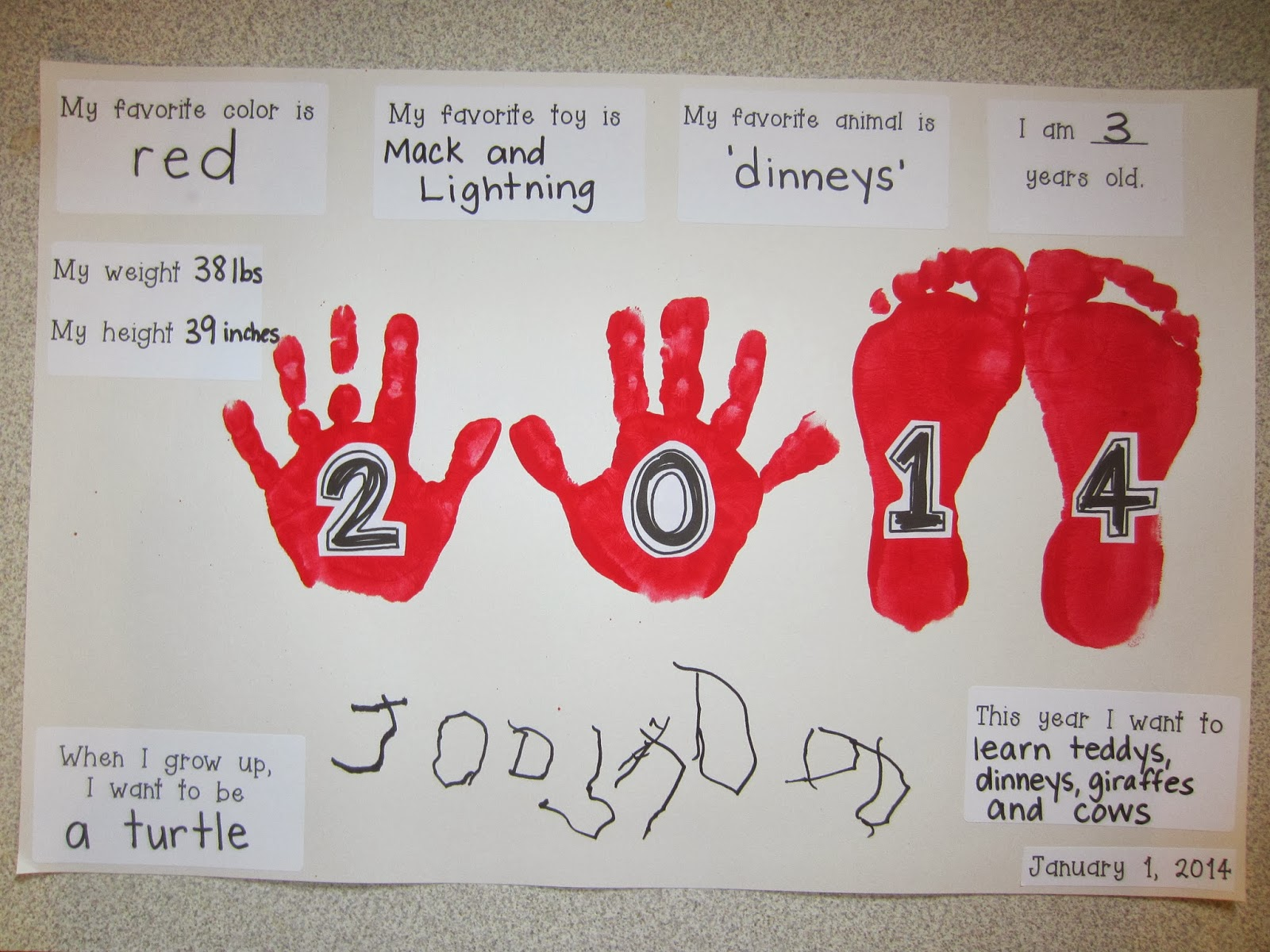 An example of the 2014 version of this New Year's kids craft