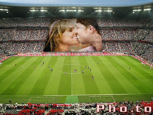 Crie uma bela montagem de fotos no estádio de futebol