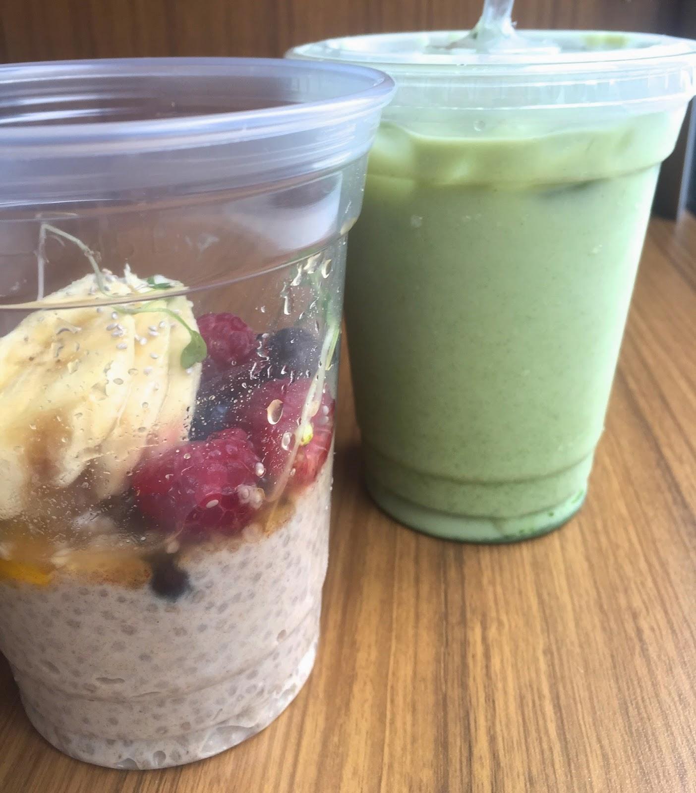 Chia Breakfast Bowl & Iced Matcha Latte - Luna's Living Kitchen