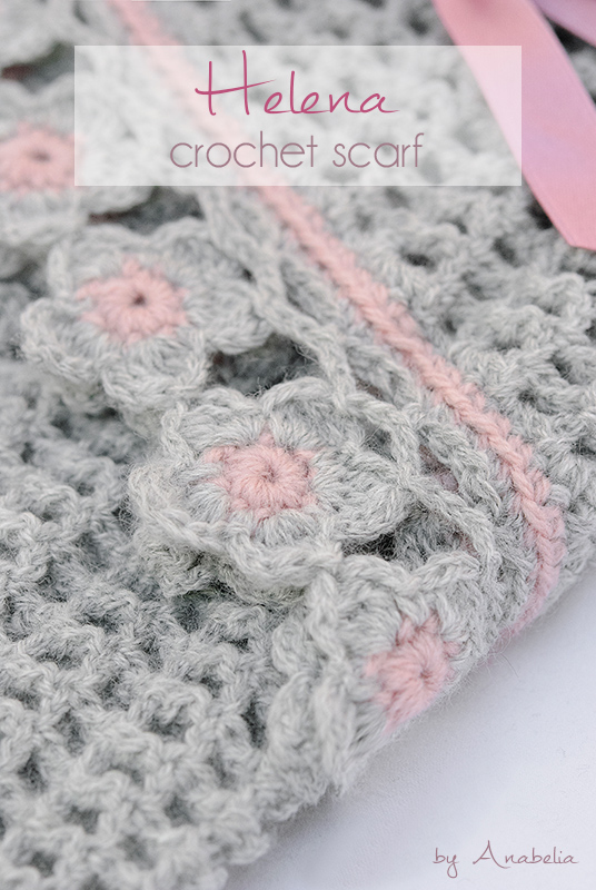 Helena crochet scarf with flowers edging, pattern | Anabelia Craft ...