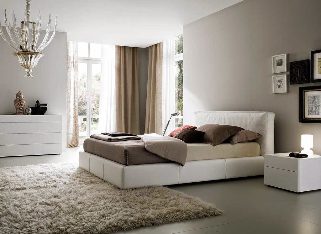luxury minimalist bedroom design concept of white color