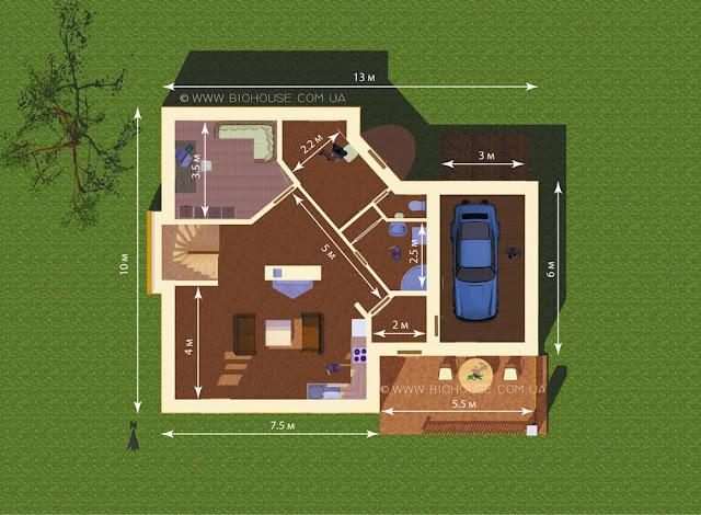 План 1 этажа с размерам помещений