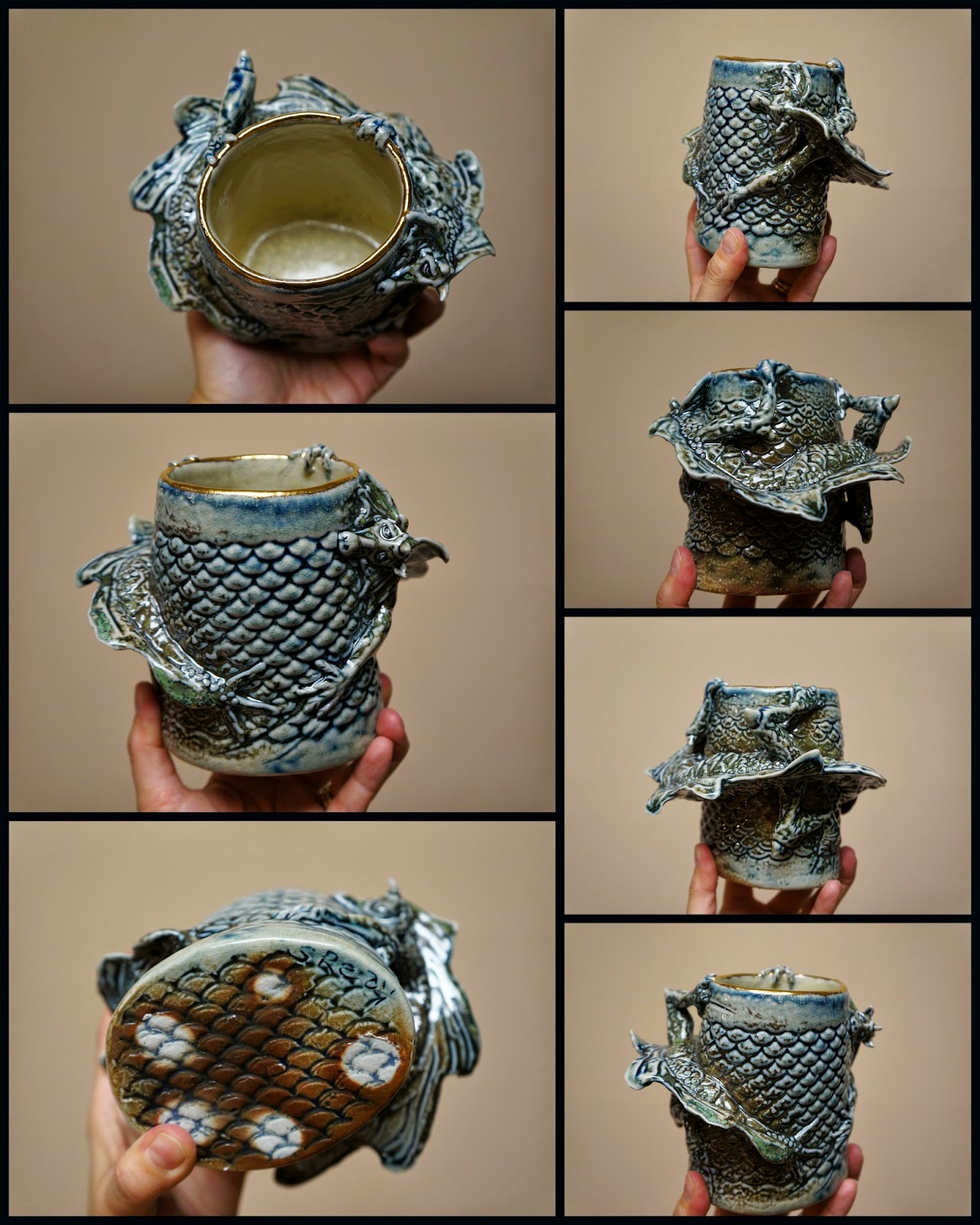 Gorgeous unique ceramic dragon vase by the talented Sharon Reay.