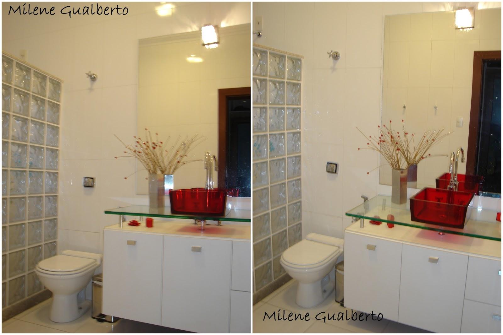 Milene Gualberto: Projetos Residenciais Banheiro com Cuba Vermelha #6B2D21 1600x1067 Armario De Banheiro Com Cuba