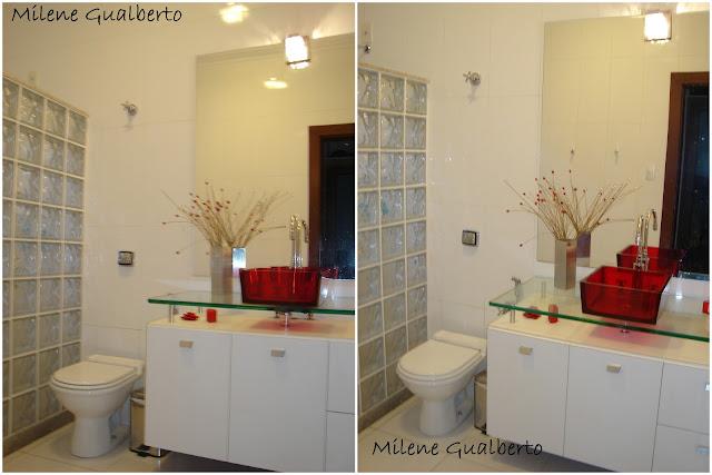 Milene Gualberto Projetos Residenciais  Banheiro com Cuba Vermelha -> Decoracao De Banheiro Com Cuba Vermelha