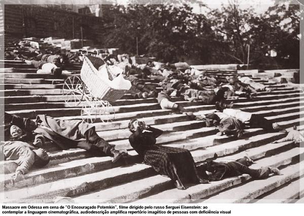 Cena de massacre na escadaria de Odessa, do filme O Encouraçado Potemkin - dissertação de mestrado da audiodescritora Bell Machado