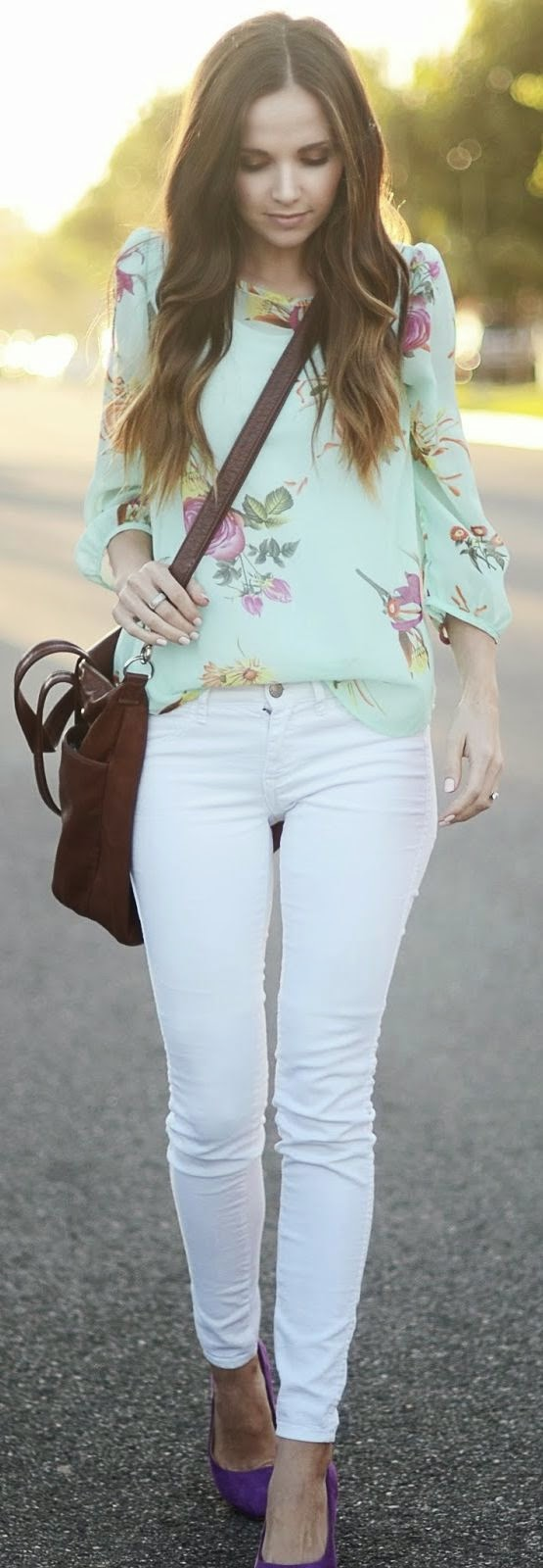 White Plum Mint Vintage Floral Blouse
