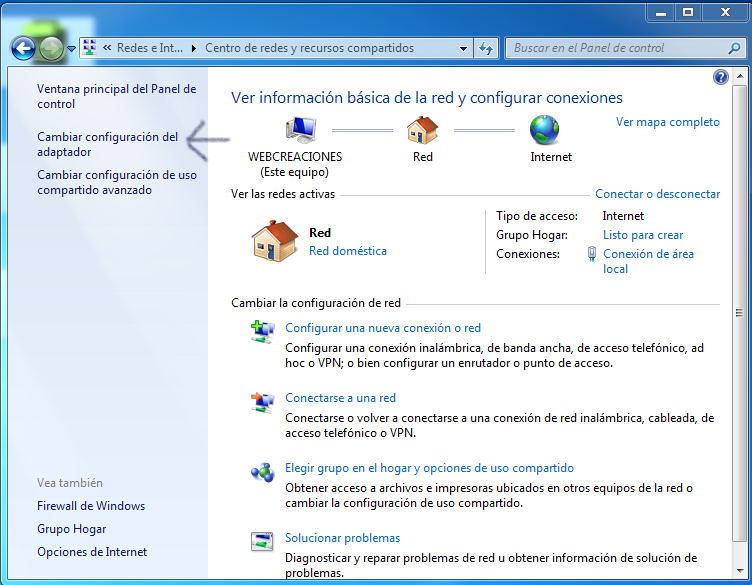 Cambiar configuración del adaptador Windows 7