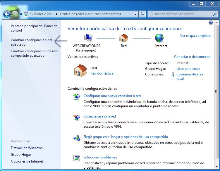 Cambiar configuración del adaptador Windows 7