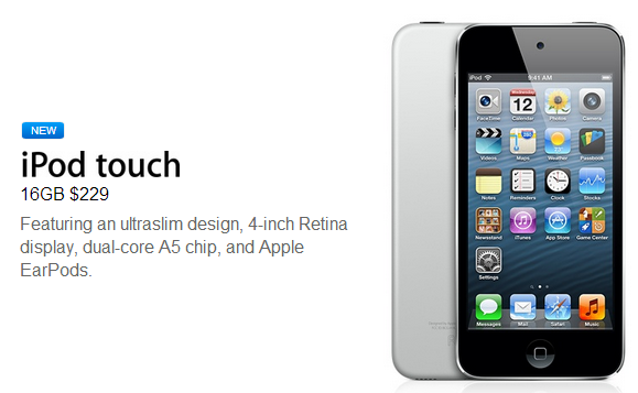 New 16GB iPod touch With 4-inch Retina Display released