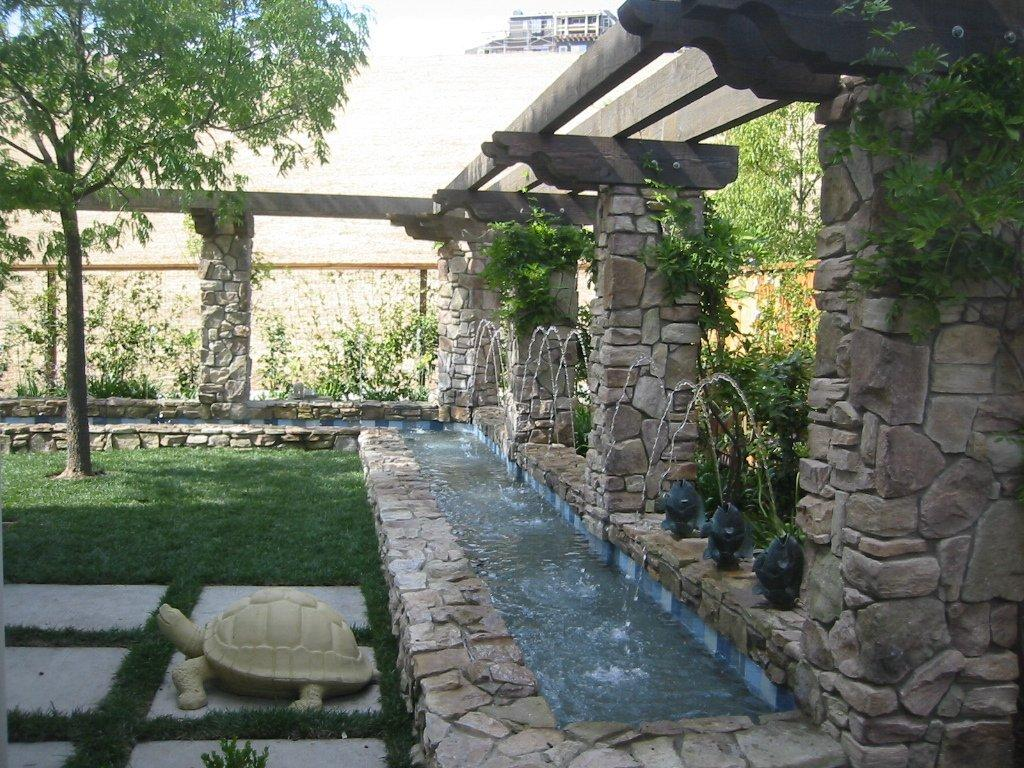 Backyard waterfall design backyard and patios Garden waterfall designs