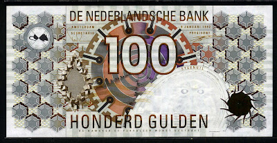 Netherlands currency 100 Gulden bill Dutch guilder banknotes